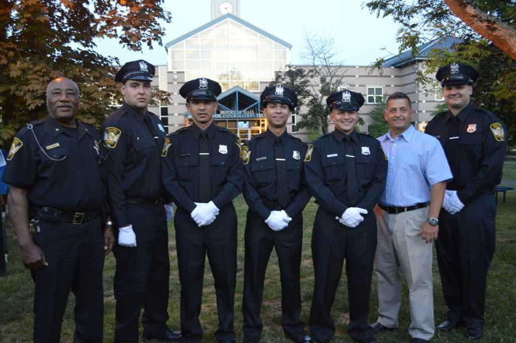 Photo caption: left to right: Auxiliary Police Chief Alexander Parker, Auxiliary Officer Richard Sanchez, Auxiliary Officer Christian Osorio, Auxiliary Officer Mark Rosado, Auxiliary Officer Jonathan Rodriguez, Rahway Police Traffic Investigator William Oplinger and Auxiliary Officer Julio Pagan.